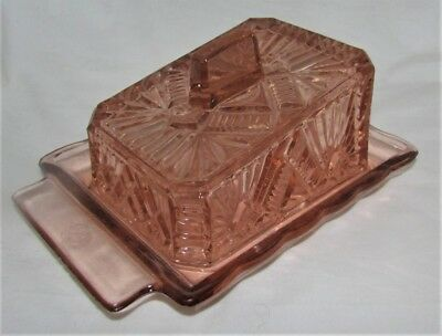 Glass Cheese Dish & Cover - Pink Colouring - Very Heavy - Art Deco Style