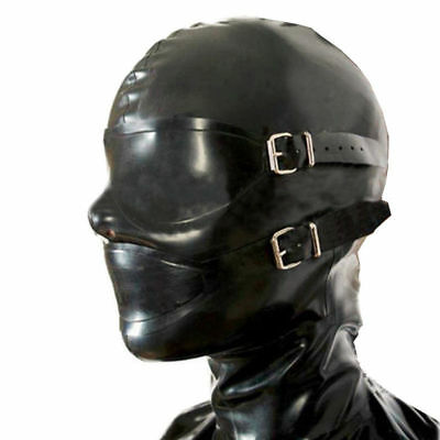 Latex Rubber Gummi Full Enclosure Hood with Eyeshade Party Mask