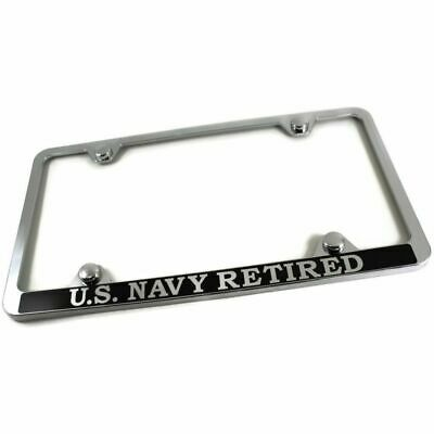 Navy Retired Slim ABS Plastic License Plate Tag Frame Mirror Chrome /w Screw Cap
