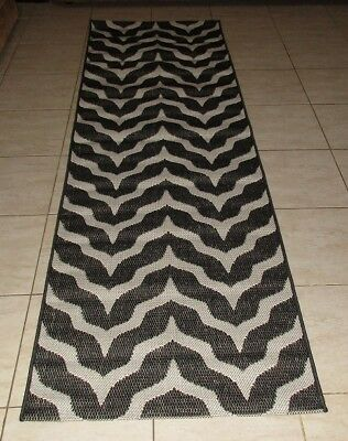 New Black Modern Heatset Floor Hallway Runner Rug 80X300Cm