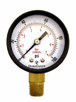 "2"" Pool Spa Filter Utility Pressure Gauge for Water Oil Gas 1/4"" NPT Lower Mo..."