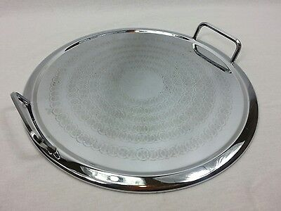 Vintage Round Tray Serving Drinks Art Deco Stainless Steel Chrome Handles Retro