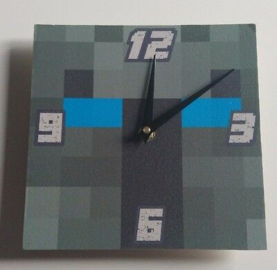 wooden Minecraft style popular mmos  Handmade Wall Clock Gift Kids Bedroom