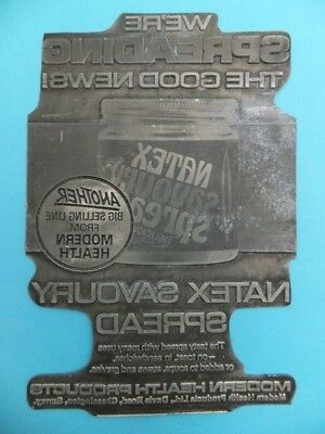 Vintage NATEX SPREAD Letterpress Ink Advertising Metal Printing Block Press Rare