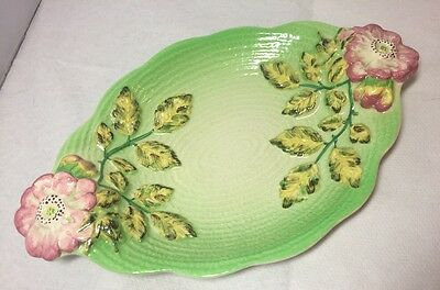 Vintage Shorter & Sons Pottery Bowl Dish With Rose Flower Handles