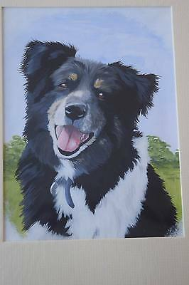 ORIGINAL PAINTING UNFRAMED ART Border Collie sheep dog painting MATTED