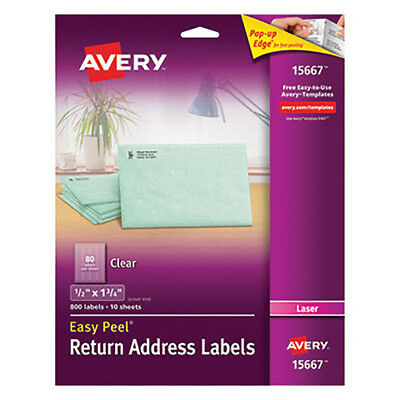 "Avery 15667 Clear Return Address Labels 1/2"" x 1 3/4"" (Laser)"