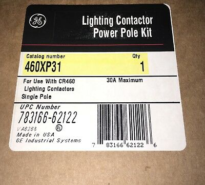 GE General Electric CR460XP31 1P Lighting Contactor Power Pole 30a for CR460