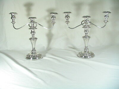 Pair English Candelabra / Candlesticks Silver On Copper 3 light  vintage / antiq