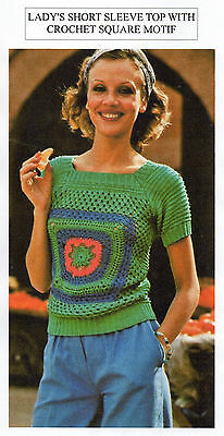 Vintage Crochet Pattern - Lady's Top With Square Motif Top - 4 Ply - Laminated