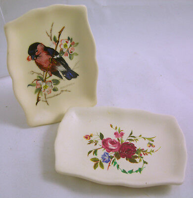 Collectable x2 Axe Vale Pin Dishes Floral & Bullfinch Designs VGC (WH_2047)