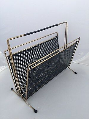 Vintage 1950s Modernist newspaper rack holder Mathieu Mategot style