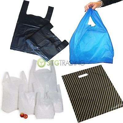 Plastic Vest Carrier Bags Blue Gold Black White Stalls Shops Markets Full Range