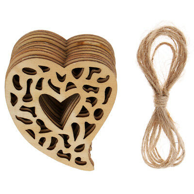 10Pcs Wood Hanging Hearts Shabby Chic Home Wedding Decoration Christmas Gift