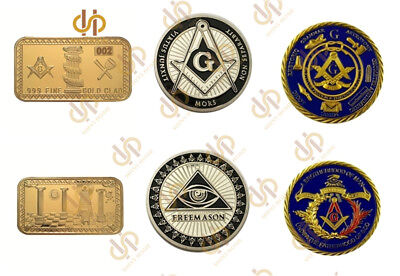 3PCS Masonic Gold Plated USA Freemason Masonic Lodge Symbols Bullion Bar/Coin