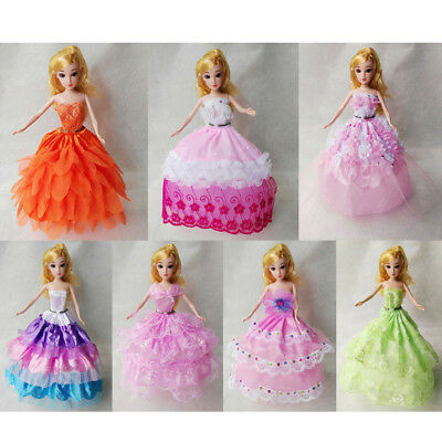 7Pcs Handmade Dress Wedding Party Mini Gown Fashion Clothes For Barbie Dolls