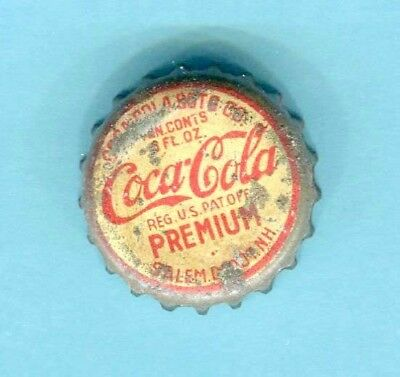 COCA COLA PREMIUM SODA BOTTLE CAP from SALEM DEPOT, NH  > Used Cork Lining