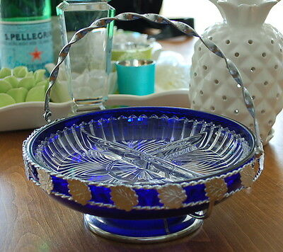 Vintage Thick Cobalt Blue Glass Silver Plated Cradle Pedestal Sectional Dish