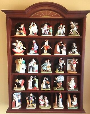 NORMAN ROCKWELL Porcelain Figurines Danbury Mint Collection Lot 25 Display Case