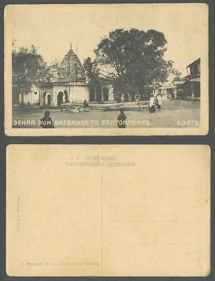 India Old Postcard Dehradun Dehra Dun Entrance to Cantonments Native Street View