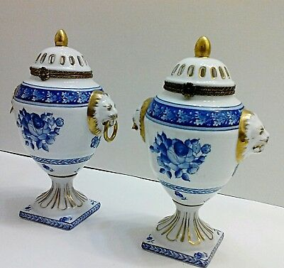 Pair of Small Chelsea House Blue White Gold Urn Lid Vase w Lion Face Handles