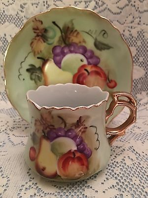 Vintage Lefton China Hand-Painted Cup & Saucer, with Fruit, #6265