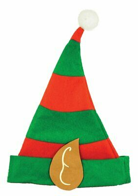 Child Size Elf Hat With Pixie Ears In Red & Green Christmas Fancy Dress