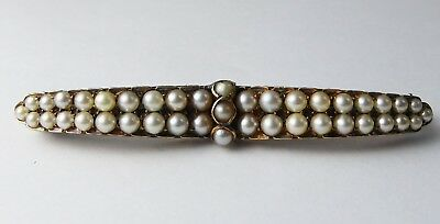 Antique Victorian 9ct Yellow Gold & Pearl Brooch