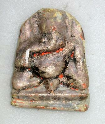 1800's Antique Originally Old Solid Stone Hand Carved Lord Ganesha Statue Figure