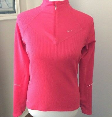 Nike Womens Fit Dry Hot Pink Pullover zipper collar long sleeve high low size sm