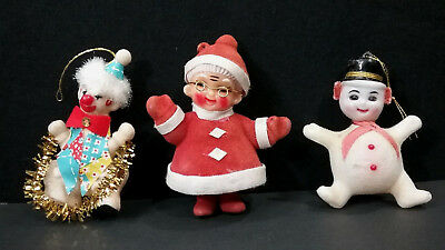 Vintage Flocked Hollow Plastic Christmas Ornaments Clown Snowman Santa Lot Of 3