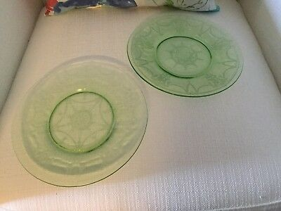 Cameo Ballerina Depression Glass Dancing Girl Green (2) Salad Sandwich Plates