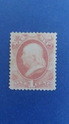 U.S.A 1873 1 Cent War Mint Stamp no Gum as Per Photos CV $375.00 Bargain