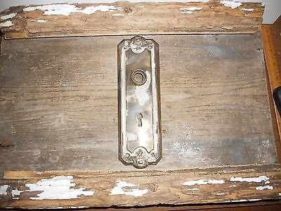 Vtg Fancy Antique Chippy Shabby Door Knob Back Plate Nice Patina Arts/craft Use