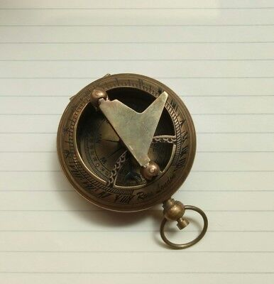 Solid Brass Nautical Pocket Sundial Compass