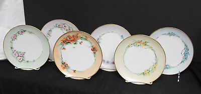 Set of 6 Vintage Porcelain Dessert Plates Floral Motif Germany