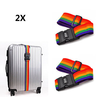 2x Adjustable Suitcase Luggage Travel Baggage Belt Lock Rainbow Belt Strap Band