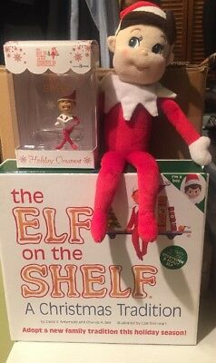 New Elf on the Shelf Book Elf Combo Boy Blue Eyes, Ornament & Plush Doll