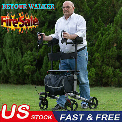 ELENKER Euro Style Medical Seat & Back Folding Rollator Walker Four Wheel Drive