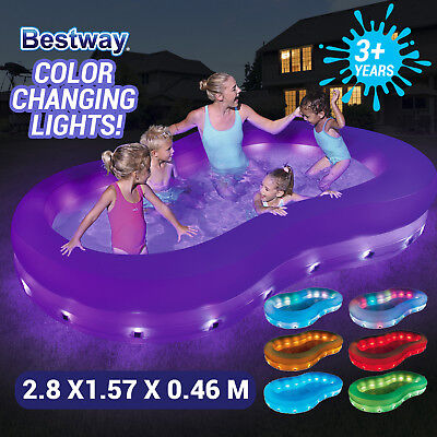BESTWAY Inflatable Color Wave Swimming Pool Kids Fun With LED Lamp  54135