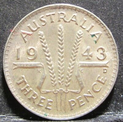 1943 D Australia 3d Threepence ** HIGH GRADE ** #RB343d-02
