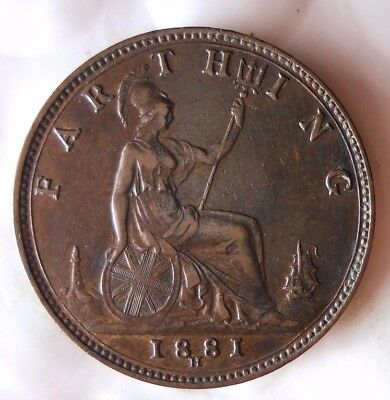 1881 H GREAT BRITAIN FARTHING - AU/UNC with Red Hints - FREE SHIP - HV40