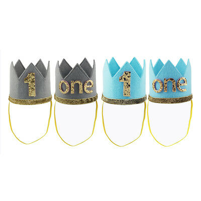 Baby Birthday Crown Infant Girls Boys 1st First Birthday Party Tiara Hairband