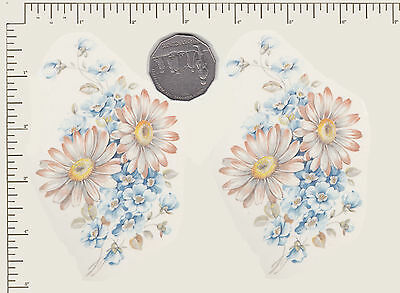 2 x Waterslide ceramic decals Decoupage White daisies Flowers Floral  PD921