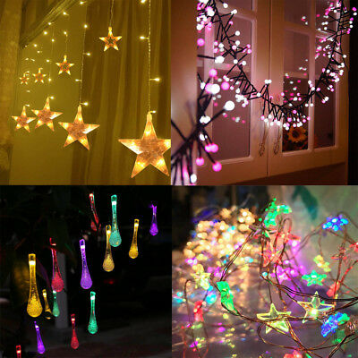 AU Christmas LED Snowflake Fairy String Lights Wedding Party Curtain Home Decor