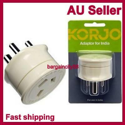 Korjo Power Plug Travel Adapter Adaptor Charger For India From AUS Australia &NZ