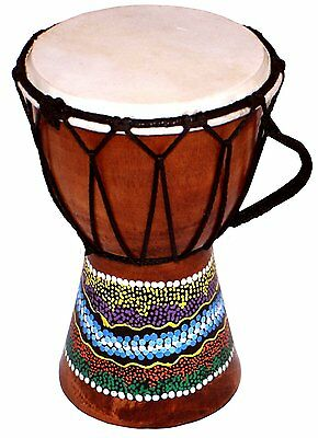 Set of 2 x15cm Djembe Drum with Hand Painted Design - West African Bongo Drum