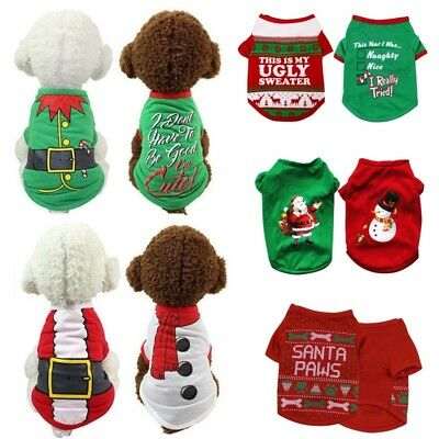 US Pet Dog Christmas Sweater Shirt Clothes Puppy Cotton Pullover Hoodie Apparel