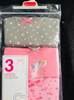 New pack of 3 baby girl vests, age 18-24 months