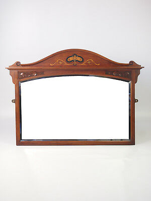 Antique Walnut Arts Crafts Overmantle Mirror - Hall Wall Bathroom Overmantle